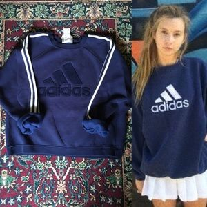 90s Adidas Navy Blue Crewneck Sweatshirt